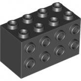 LEGO Steen 2x4x2 met zij-noppen ZWART
