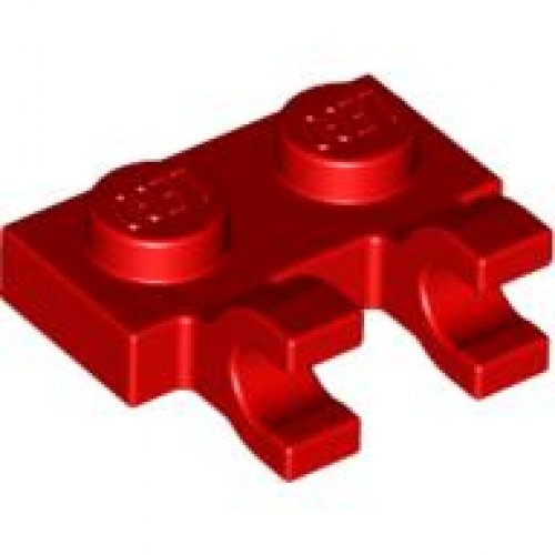 Lego 5 New Red Plates Modified 1 x 1 Clip Horizontal thick open O clip Pieces